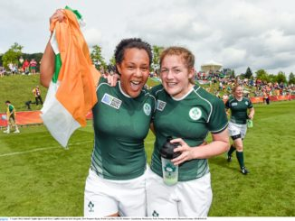Sophie Spence celebrate Ireland's recent victory over Kazakhstan in the Rugby World Cup.