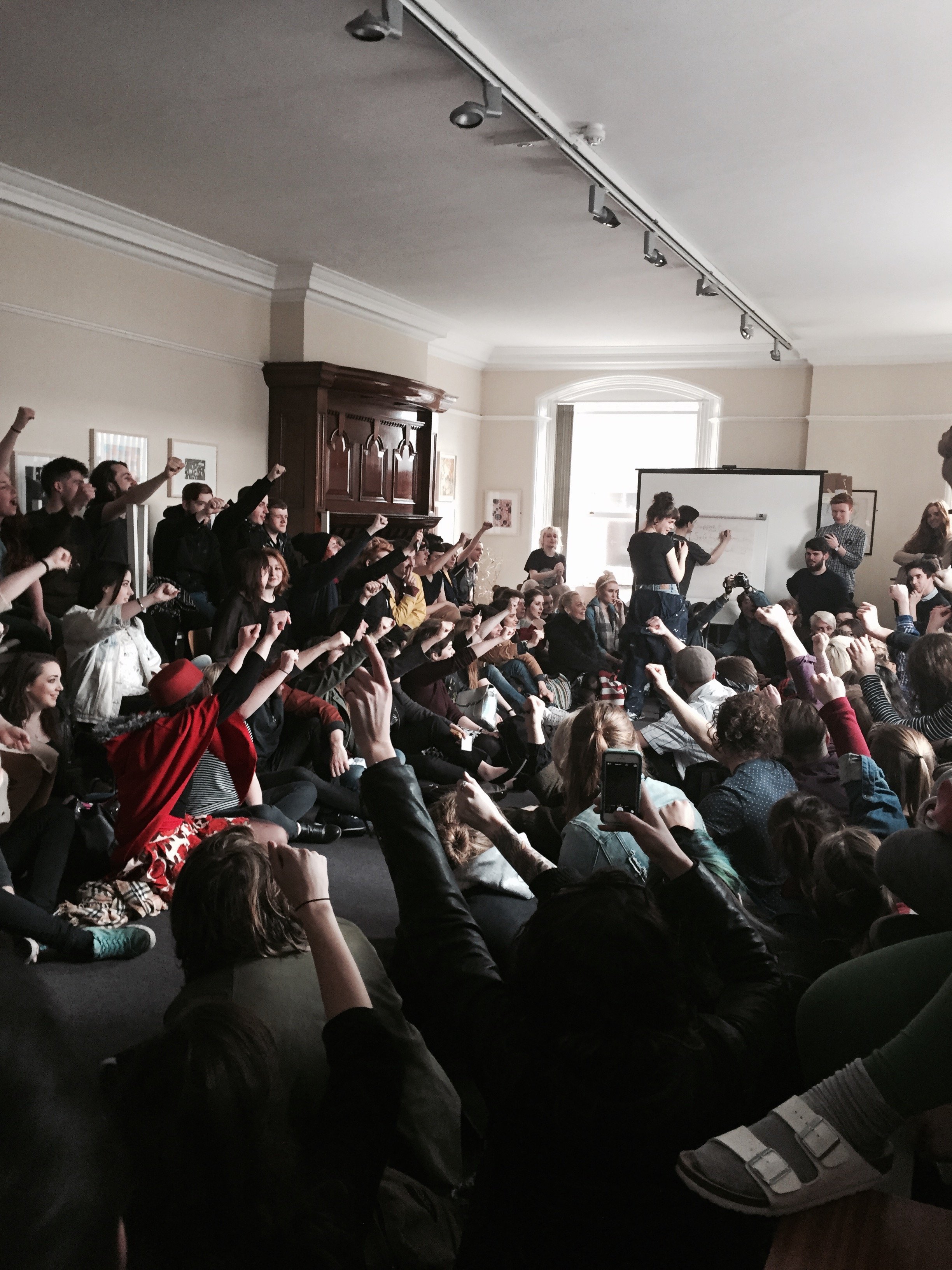 The board room at NCAD is filled to capacity as students take part in an occupation