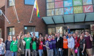 Rainbow flag raised outside the hub in support of Marriage Equality Referendum. Credit: Anna Kazadojeva
