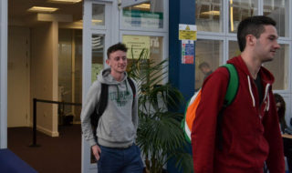 Fourth year international business students Robbie O'Shea and Eoghan Coyle stroll out of registryCredit.Chaibrady