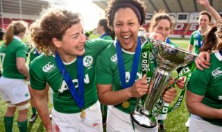 Spence (right) celebrates Ireland's Six Nations victory with team-mate Jenny Murphy. Credit: Sportsfile