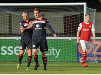 O'Sullivan (centre) celebrates after scoring for Shelbourne in last year's Dublin Derby. Credit: Sportsfile