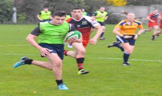 DCU (bibs) in action against Athlone IT. Credit: David Clarke