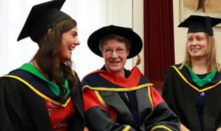 Dame Jocelyn Bell Burnell (centre) was paid tribute to by DCU during graduation for her life's work in her fieldCREDIT dcu.ie