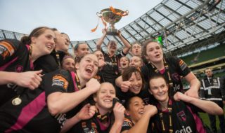 Wexford Youths WAFC celebrates after winning the Women's FAI Cup last November. Credit: Sportsfile