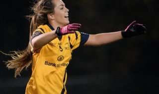3 December 2015; Aisling Sheridan, DCU, celebrates at the final whistle. Senior Women's Football League Final, UCD vs DCU, Belfield, Dublin. Picture credit: Sam Barnes / SPORTSFILE