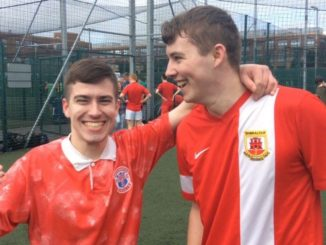 Deputy Editor Aidan Geraghty and Deputy Sports Editor Cormac O'Shea celebrate The College View's victory.