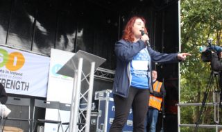 USI President, Annie Hoey addresses the crowd at the #EducationIs march on Wednesday
