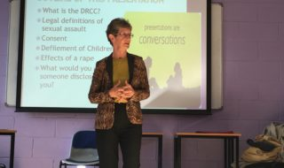 Dr Patricia Barker speaks to DCU students about the issue of consent
