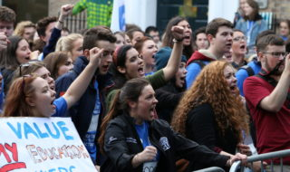 Students chanting for publicly funded education. Credit: Andrew Byrne