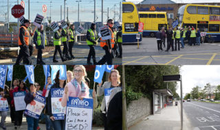 Nurses and Dublin Bus drivers strike with the aim of getting a pay increase. Image Credit: Darragh Culhane. Alan Betson, Eric Luke