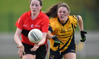 20 March 2015; Áine O'Sullivan, UCC, in action against Siobhán Woods, DCU. O'Connor Cup Ladies Football, Semi-Final, UCC v DCU. Cork IT, Bishopstown, Cork. Picture credit: Matt Browne / SPORTSFILE