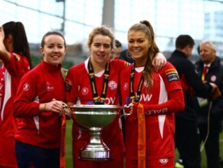 DCU alumnus Sarah Rowe (right) celebrates winning the WFAI Cup with Shelbourne. Credit: Sarah Rowe