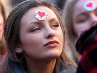 A demonstrator during 2014's La Mor na Gaeilge protests aimed at a lack of facilities for Irish speakers Credit: Irish Independent