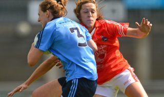 5 September 2015; Muireann Ní Scanaill, Dublin, in action against Caroline O'Hanlon, Armagh. TG4 Ladies Football All-Ireland Senior Championship Semi-Final, Armagh v Dublin. Parnell Park, Dublin. Picture credit: Piaras Ó Mídheach / SPORTSFILE