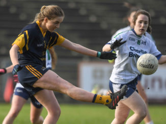 Aoife Norris of DCU in action against Lorraine Newell of AIT during the Giles Cup Final at Elverys MacHale Park in Castlebar, Co. Mayo.