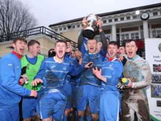 DCU players celebrate their triumph in the Harding Cup. Credit: Third Level Football
