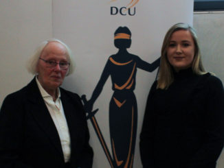 Hon. Ms. Justice Mary Laffoy and chairperson of DCU law society Eva McQuaid, at an event in DCU on March 6th. Credit: Shauna Bowers