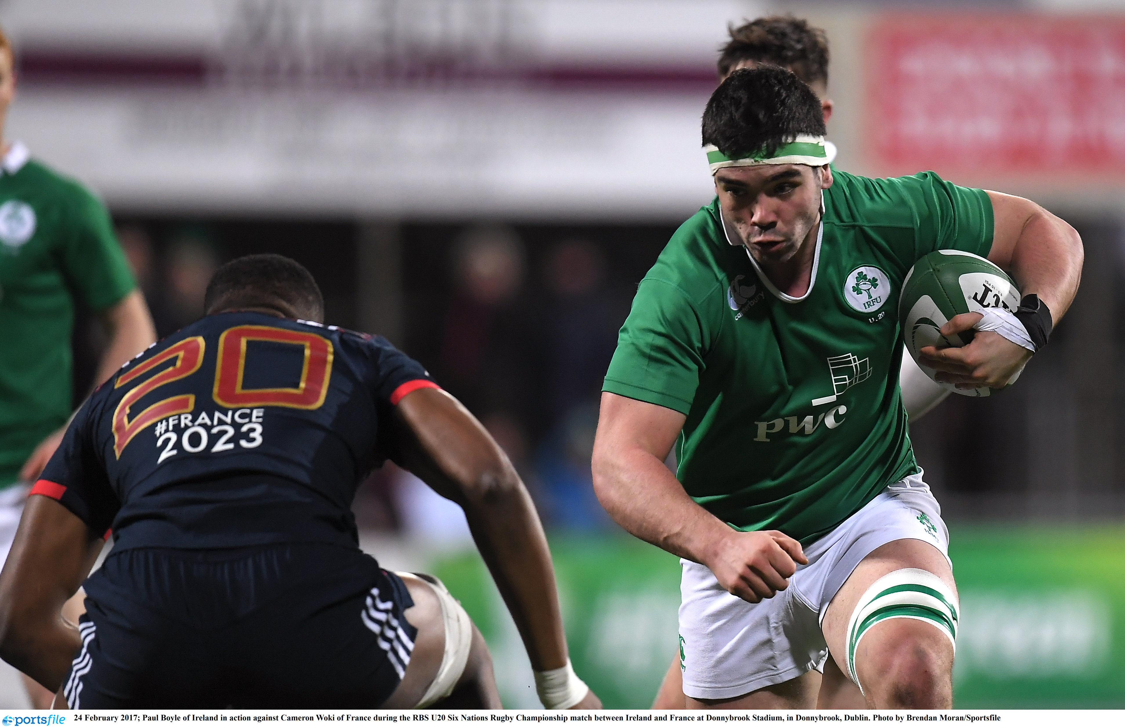 24 February 2017; Paul Boyle of Ireland in action against Cameron Woki of France during the RBS U20 Six Nations Rugby Championship match between Ireland and France at Donnybrook Stadium, in Donnybrook, Dublin. Photo by Brendan Moran/Sportsfile