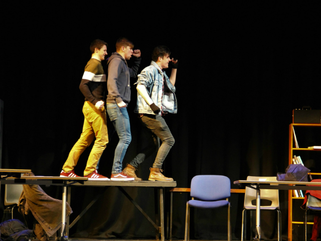 Cathal O'Rourke, Shane McGinley and Donnacha Tynan star in DCU Drama's production of The Breakfast Club. The show was performed on Monday 10th April in the auditorium on the St.Patricks campus in DCU.   Credit: Caoimhe McGowan