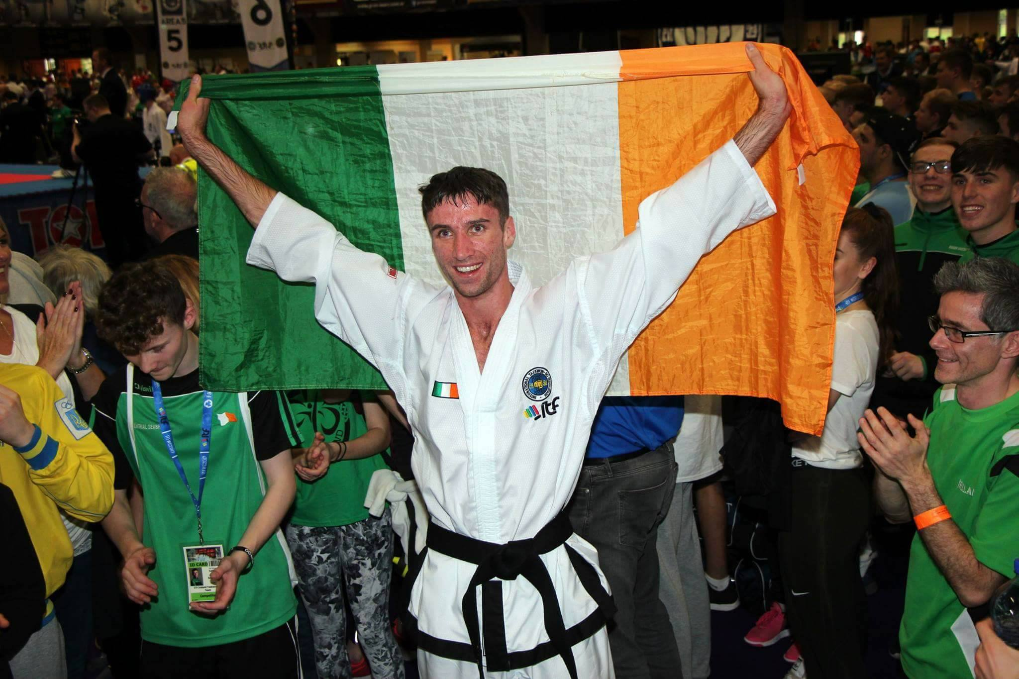 Adam Shelley celebrates victory at the 2017 WTF Taekwondo Championships in Citywest. Image Credit: Legacy Taekwondo Drogheda