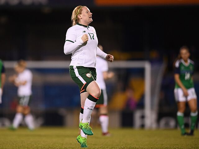 Barrett celebrating after making her debut for the Republic of Ireland against Northern Ireland last week