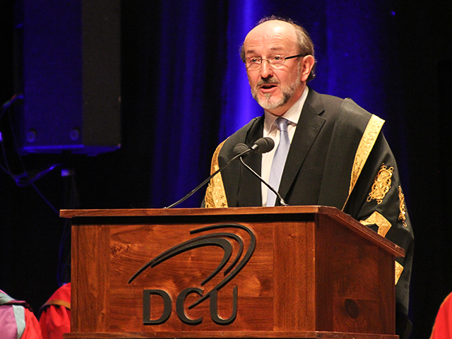 DCU President Brian MacCraith delivers his closing speech. Credit Kyle Ewald