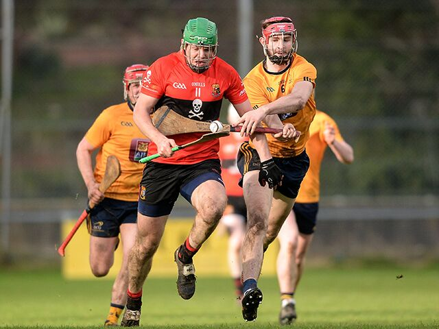 Alan Cadogan of University College Cork in action against Eoghan O'Donnell of DCU in last year's Fitzgibbon Cup. Credit: Eoin Noonan/Sportsfile