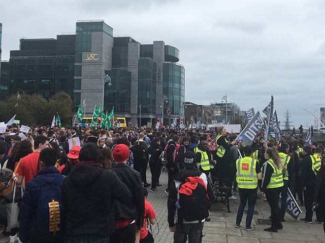 Students from all over Ireland gathered in Dublin to lobby against the implementation of a loans scheme. Image Credit: Kyle Ewald