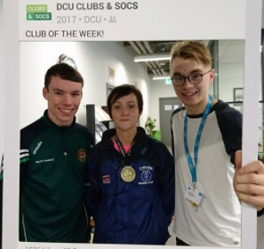 Ceire Smith (centre) celebrating with her medal from her victory, after DCU boxing were named Club of the Week. Credit: DCU Athletic Boxing Club/Facebook