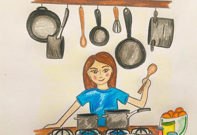 Drawing of woman cooking in her kitchen